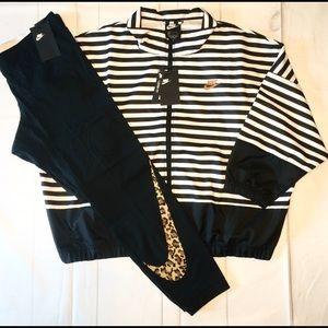 New Nike outfit zip up coat leopard print leggings
